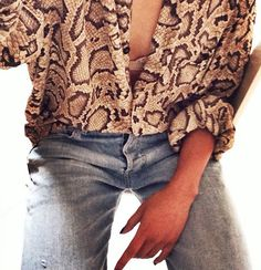 Margaret Zhang reptile blouse shirt and denim