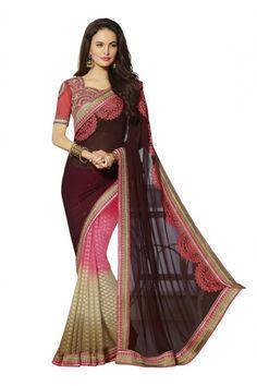 Ethnic Wear Multi-Colour Georgette Saree  - 18542