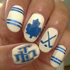 Lovely Nails m lovely nails toronto Sassy Nails, Funky Nails, Hockey Nails, Sports Nail Art, Nail Envy, Jamberry Nails, Cool Nail Designs, Toe Nails, Nails Inspiration