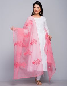 Bring out the best in you by teaming up your favourite kurta with this chikankari dupatta. Made of a cotton silk blend, this dupatta will retain its quality and shine for years to come. Soft and light in weight, this dupatta is a class apart from others.  Cotton Silk Kota Mukaish Chikankari Dry Clean Only
