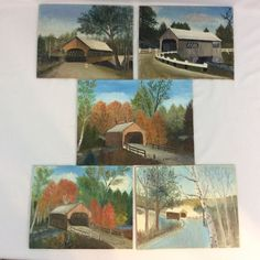 Vintage Oil Painting of Covered Bridge Signed Canvas Board Lot of 5 Unframed #Realism