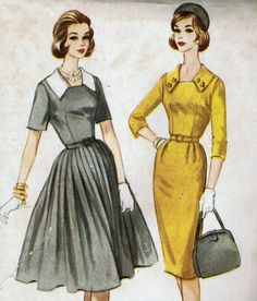 Vintage 1960 McCall's 5621 Sewing Pattern Misses' Dress with Slim or Full Skirt Size 16 Bust 36