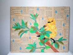 Little birdie in the rain - collage painting - MORE ART, LESS CRAFT