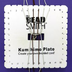 Step by step instructions for making a 10 cord flat braid on the kumihimo square plate with photographs by Pru McRae