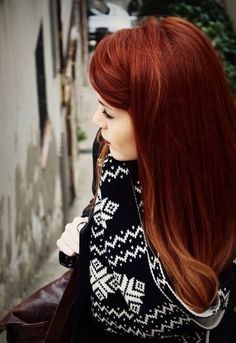 Red hair color.