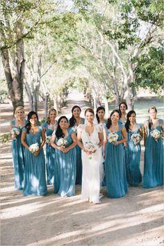 lon blue bridesmaids dresses #bridesmaids #dresses #weddingchicks http://www.weddingchicks.com/2014/03/05/hawaiian-pink-and-gold-wedding/