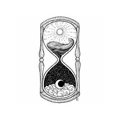 #Hourglass #Drawing #Tattoo #Image Moon, Idea, Black and white, Photograph - Photo by @blackworknow - Follow #extremegentleman for more pics like this!