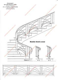 Rampes d'escalier en fer forgé Art décoratif : Modèle Soleil croisé