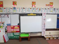 SECRET STORIES® Superhero Vowel™ (tricky phonics) posters hung just above the vowels in the alphabet train! Love it :)