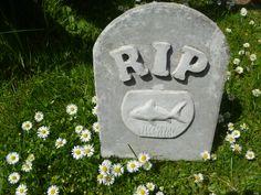 unpainted goldfish memorial stone