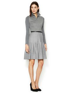 Pleated Skirt Knit Dress by Akris Punto at Gilt