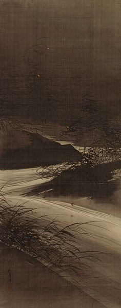 Fireflies over the Uji River by Moonlight, Meiji period (1868–1912), Japan  Suzuki Shonen (Japanese, 1849–1918)  Hanging scroll; ink, gold, and color on silk; 53 1/2 19 3/4 in. (135.9 x 50.1 cm)  Purchase, Gift of Mrs. Russell Sage, by exchange, 1979 (1979.72).  MET