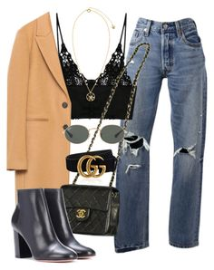 """Sin título #3635"" by camilae97 ❤ liked on Polyvore featuring Levi's, Chanel, Gucci, Aquazzura, Versace and Ray-Ban"