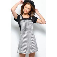 Nina Black & White Stripe Pinafore Dress ($19) ❤ liked on Polyvore featuring dresses, black, pinafore dress, black and white dresses, striped dress, black white striped dress and pinstripe dress