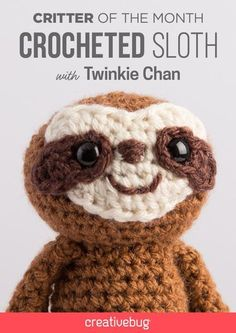 Crochet your own amigurumi sloth with this free pattern! Crochet your own amigurumi sloth with this free pattern! Crochet Sloth, Cute Crochet, Crochet Animals, Easy Crochet, Crochet Baby, Crotchet, Crochet Stuffed Animals, Crochet Patterns Amigurumi, Crochet Dolls