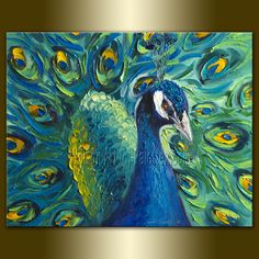 Peacock Oil Painting Textured Palette Knife Modern Animal Art #Peacock #Paintings