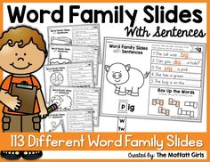 These Word Family Slides and Sentences are a GREAT way to work with 113 different word families to help with decoding, fluency and spelling for beginning and struggling readers!