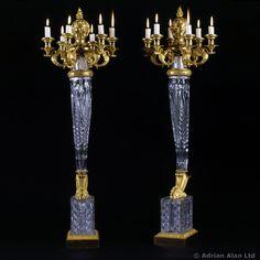 An Important Pair of Empire Cut-Crystal Six-Light Candelabra, Attributed To Escalier De Cristal De Paris - #adrianalan