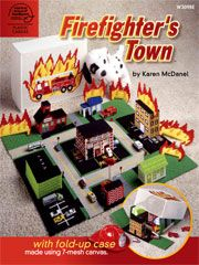 Plastic Canvas Firefighters Town
