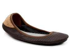 Perforated Chocolate and Cork Soft Star Ballet Flat, Handmade in USA
