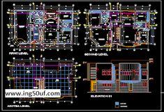مخطط مسكن مكون من 4 غرف نوم اوتوكاد dwg