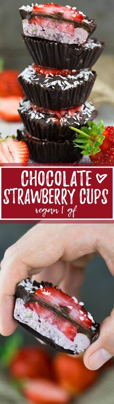 These vegan chocolate cups with strawberry filling are the perfect vegan dessert. And you need only five ingredients to make them: dark chocolate, strawberries, cashews, maple syrup, and coconut milk. It's such an easy vegan recipe! And they're super rich and chocolatey. Big YUM! <3 | veganheaven.org