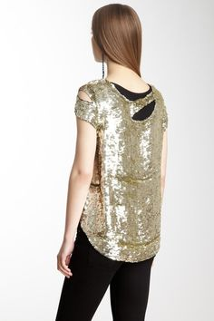 Sequin Cut Out Tee
