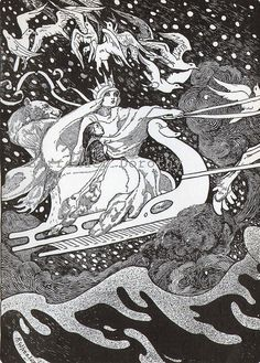 "Snow Queen Albertine by Randall Wheelan, 1929. ""They Flew Up and Up on a Dark Cloud"" from The Snow Queen by Hans Christian Anderson"