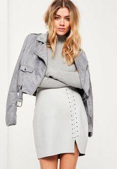 Petite Grey Stitch Details Mini Skirt
