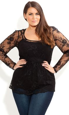 City Chic - SCALLOP PEPLUM TOP - Women's plus size fashion
