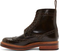 Grenson Brown Leather Brogue Fred Boots