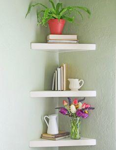 selbstgebautes eckregal dreieck form farne buecher vase blumen kannen