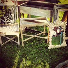 Shabby tables and mirror