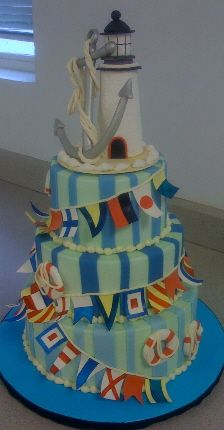 I adore this lighthouse nautical themed cake by Robyn Loves Cake.