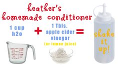 Homemade Conditioner - To condition hair: Mix 1 Tbsp of apple cider vinegar (or lemon juice) with 1 cup of hot water. After hair has been shampoo-ed and rinsed, condition ends of hair with the vinegar/water mixture, and massage into tips. Rinse as normal. Homemade Shampoo And Conditioner, Homemade Shampoo Recipes, Diy Shampoo, Hair Conditioner, Homemade Beauty, Diy Beauty, Homemade Hair, Beauty Stuff, Beauty Tips