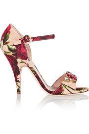 Dolce & GabbanaEmbellished floral-print brocade sandals