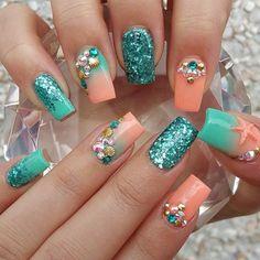 Teal And Coral Nails nails nail art summer nails nail ideas nail designs teal nails nail pictures coral nails summer nail art Fabulous Nails, Gorgeous Nails, Cute Nails, Pretty Nails, Fancy Nails, Hair And Nails, My Nails, Beach Themed Nails, Mermaid Nails
