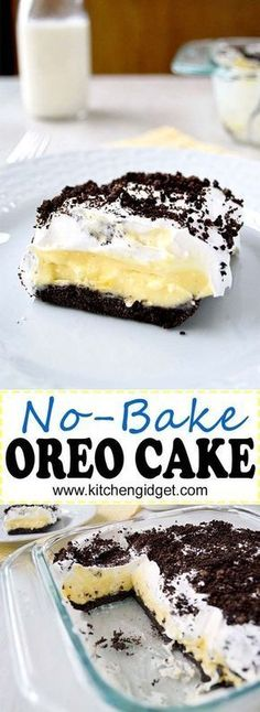 This no bake Oreo Cake is layers of vanilla pudding, cream cheese and cool whip on an Oreo crust! (AKA Oreo Delight, Dessert Lasagna) # oreo Desserts Oreo Cake (No bake) No Bake Oreo Cake, Oreo Cake Recipes, Baking Recipes, Oreo Recipe, No Bake Oreo Dessert, Oreo Pudding Dessert, Cake With Pudding, No Bake Recipes, Oreo Layer Dessert