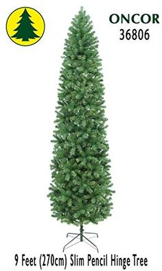 Oncor 9ft EcoFriendly Slim Pencil Pine Christmas Tree -- Click on the image for additional details.