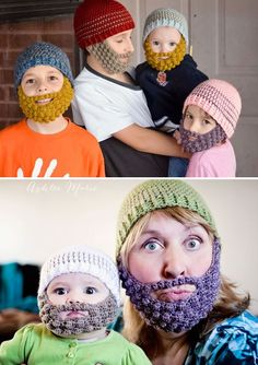 Crochet beanie and beard: 4 sizes. ( Makes for great leprechaun hat and beard without the mustache)