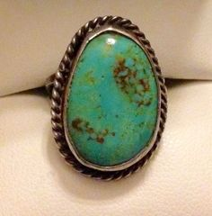 Vintage Old Pawn Southwestern Navajo Sterling Silver Oval Turquoise Ring Sz 7 5 | eBay