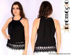 Peças lindas em promoção!! Blusa de Chiffon com barrado de renda cod: 23.849  www.claraassis.com.br