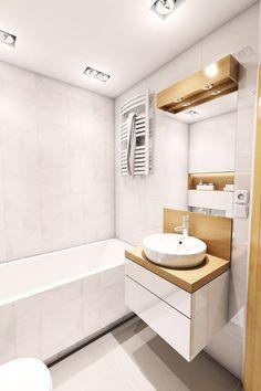 Aranżacja mieszkania przy ul. Małomiejskiej w Gdańsku - Mała łazienka w bloku w domu jednorodzinnym bez okna, styl nowoczesny - zdjęcie od Pracownia Projektowa MONO