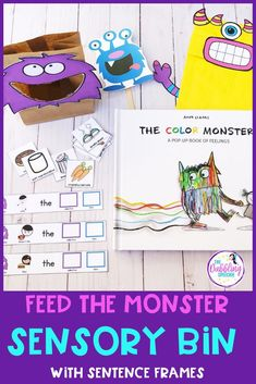 If you have a paper bag, or empty cereal box, you can create a feed the monster sensory bin. Just put the food pieces in your sensory bin and have students choose what foods they want to feed their monster. This will spark so much language! Grab it today.