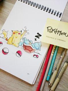 Et voici deux nouveaux #pokemrou inspirés de #pokemongo #pikachu et #carapuce version #mrou ! #catlovers #sketch #Squirtle #ピカチュウ