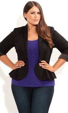 City Chic - PLEAT PEPLUM JACKET - Women's plus size fashion big curvy plus size women are beautiful! Curves