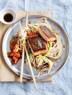 ginger salmon with zucchini, soba noodles and kimchi from donna hay magazine Spring issue #83