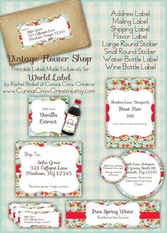 Vintage flower shop labels in FREE printable editable PDF templates. Address, Favor, shipping, water bottle labels and more. Including Journal Notes. Use for Wedding Favors, Party Favors and on and on...