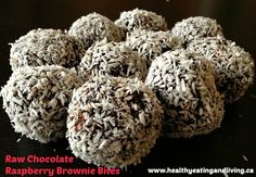 Healthy Eating and Living - Raw Chocolate Raspberry Brownie Bites by @mandyking_HEAL