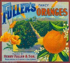 Redlands CA, Fuller's Brand fruit crate label